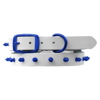 Platinum Pets White Genuine Leather Dog Collar with Spikes   Blue (11   15)