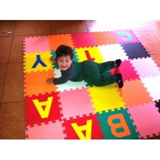 "Children Alphabet Letters and Counting Numbers (A Z, 0 9) Soft Mat   Each Tile 12"" X 12"" X ~9/16"" Extra Thick  Ewonderworld Playmat  Baby"