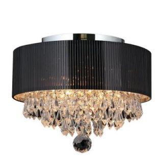 Worldwide Lighting Gatsby Collection 3 Light Crystal and Chrome Ceiling Light with Black Shade W33137C12