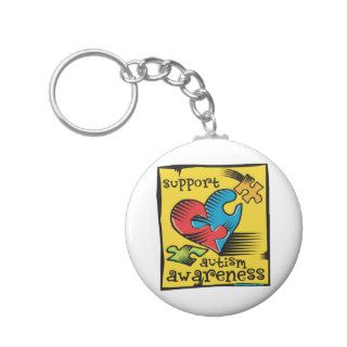 Autism Awareness Heart Puzzle Pieces Key Chain