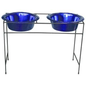 Platinum Pets 8 Cup Wrought Iron Modern Diner Dog Stand with Extra Wide Rimmed Bowls in Blue MDDS64BLU