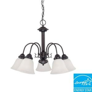 Green Matters Ballerina 5 Light Hanging Mahogany Bronze Chandelier with White Shades HD 3331