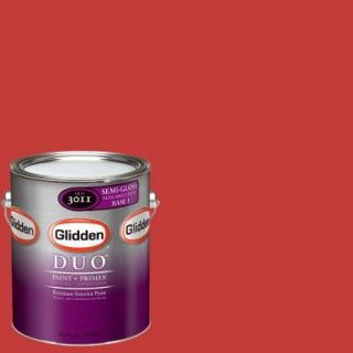 Glidden DUO 1 gal. #GLR06 01F Red Geranium Semi Gloss Interior Paint with Primer GLR06 01S