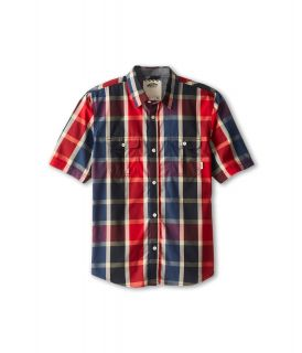 Vans Kids Averill S/S Shirt Boys Short Sleeve Button Up (Red)