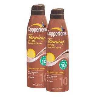 Coppertone Dry Oil Sunscreen Spray Set with SPF 10   2 Pack