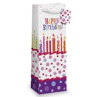 Happy Birthday Single Wine Bottle Gift Bag w/ Soft Rope Handles and Matching Gift Tag Kitchen & Dining