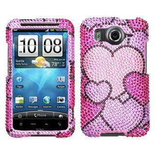 HTC AT&T ANDROID INSPIRE 4G HARD PLASTIC CRYSTAL DIAMOND SPARKLE RHINESTONE BLING DESIGN LAVANDER PURPLE PINK HOT PINK PACKED HEARTS SNAP ON CASE COVER