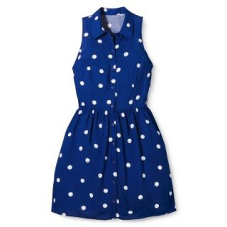 Merona Womens Woven Sleeveless Shirt Dress   Blue Polka Dot   6