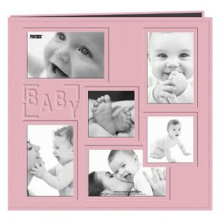 Baby Collage Frame Sewn Embossed Cover Postbound Album   Pink (12x12)