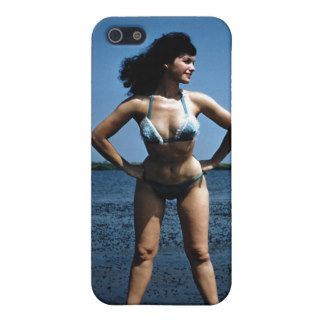 Bettie Page in a Blue Bikini Standing Beside Water iPhone 5 Covers