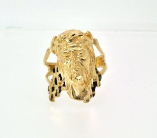 14K Yellow Gold Christ Head Ring Jewelry
