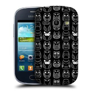 Head Case Designs Black In line Doodle Owls Hard Back Case Cover for Samsung Galaxy Fame S6810 Cell Phones & Accessories