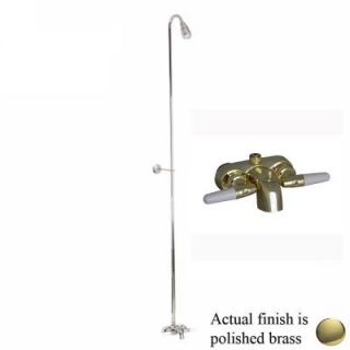 Pegasus 2 Handle Claw Foot Tub Diverter Faucet without Hand Shower with Riser and Plastic Showerhead in Polished Brass 4195 PB