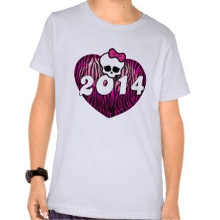 Senior 2014 Zebra Heart Skull Tee Shirt