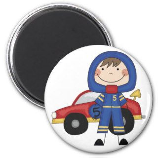 Stick Figure Boy Race Car Driver Tshirts Fridge Magnet