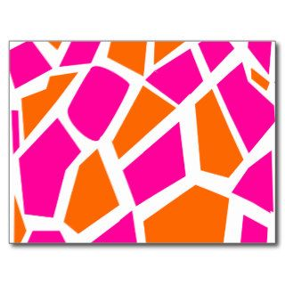 Funky Hot Pink Orange Giraffe Print Girly Pattern Post Card