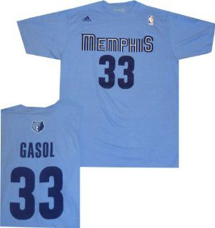 Memphis Grizzles Marc Gasol Adidas Light Blue T Shirt  Sports Related Merchandise  Sports & Outdoors