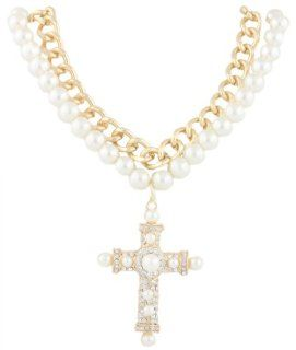 Gold with Clear Iced Out Cross Pendant with a 21.5 Inch Adjustable Pearl & Cuban Chain Double Necklace Jewelry