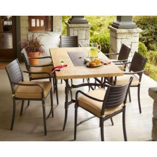 Hampton Bay Madison 7 Piece Patio High Dining Set with Textured Golden Wheat Cushions DISCONTINUED 13H 001 7GH
