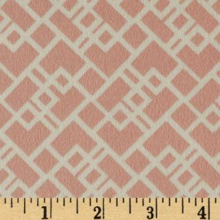 44'' Wide Baobab Flannel Geometric Shapes Rose/White Fabric By The Yard