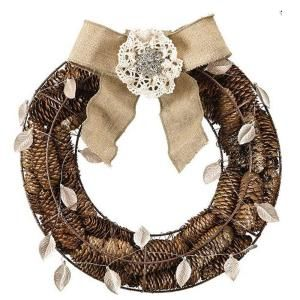 Home Decorators Collection 14.5 in. W Round Pinecone Wreath with Burlap Bow 1836910820