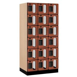 Salsbury Industries S 36000 Series 36 in. W x 76 in. H x 21 in. D 6 Tier Box Style See Through Designer Wood Locker in Cherry S 36361CHE
