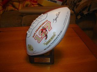 Autographed Jerry Rice San Francisco 49ers Signature Wilson Football w/ Stand Sports Collectibles