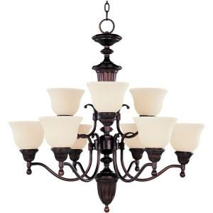 Illumine 9 Light Oil Rubbed Chandelier with Soft Vanilla Glass Shade HD MA42235251