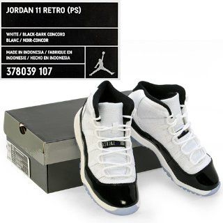 "Nike Air Jordan 11 Retro (PS) ""Concord"" Little Kids Basketball Shoes [378039 107] White/Black Dark Concord Boys Shoes 378039 107 First Walkers Shoes Shoes"