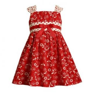 Bonnie Jean Toddler Girls 2T 4T RED WHITE FLORAL POLKA DOT PRINT EMPIRE WAIST Spring Summer Party Dress BNJ 7290/M27290 4T Clothing