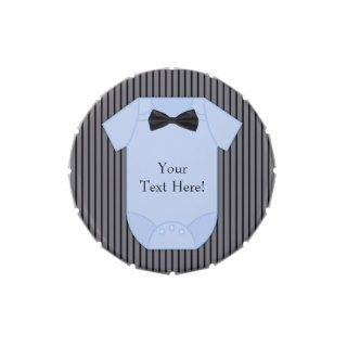 Pinstripe Black and Blue Baby Boy Shower Candy Jelly Belly Tin