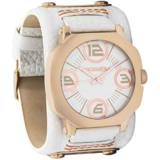 Rockwell Women's AS108 Assassin Stainless Steel Case with Rose Gold Finish and White Leather Band Watch Watches