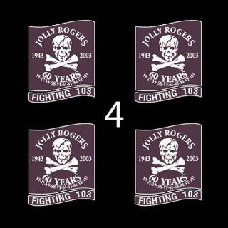 "US Navy VF 103 Fighting 103 Jolly Rogers SSI 3"" (4)Four Decal Sticker Lot Automotive"