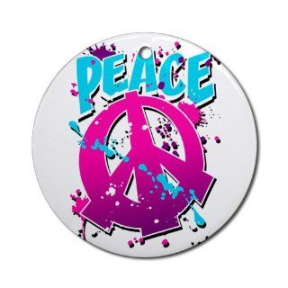 Ornament (Round) Peace Symbol Sign Splatter Neon  Decorative Hanging Ornaments
