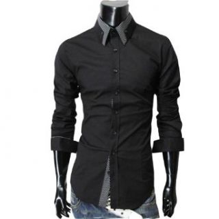 "Zehui Mens Stylish Striped Collar Button Front Shirt Long Sleeved Casual Slim Shirt Black USS(Shoulder16.9"" Chest37.7"" Length27.9"" Sleeve24.8"") at  Men�s Clothing store"