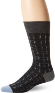 HUGO BOSS Men's Box Pattern Sock, Black/Blue, 10   13 at  Men�s Clothing store Dress Socks