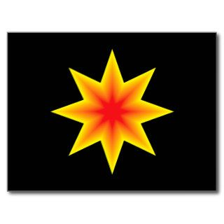 Eight Pointed Yellow Orange Star Post Cards
