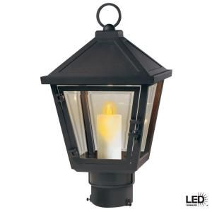Hampton Bay Beauregard Wall Mount Outdoor Seville Bronze LED Post Top Lantern with Motion Detection Faux Flame HB2105BZ