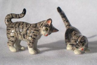 CAT GREY TIGER Pair Playing 1 Stalking 1 Crouching New MINIATURE Figurine Porcelain KLIMA L171B   Collectible Figurines