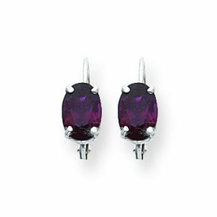 2.1 Carat 14K White Gold 7x5mm Oval Garnet leverback earring Dangle Earrings Jewelry