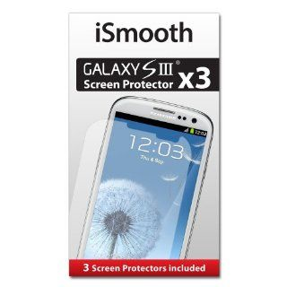 iSmooth Samsung Galaxy S3 Screen Protector 3 Pack Highest Rated Premium Quality   Free Lifetime Replacement Guarantee   Package Includes BONUS Cleaning Cloth and Three (3) Screen Protectors Cell Phones & Accessories