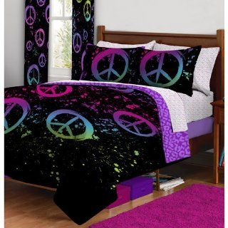 11pc Girl Black Pink Green Purple Peace Sign Queen Comforter Set and 2 Curtain Sets (11pc Room in a Bag)   Sports Fan Bed In A Bag