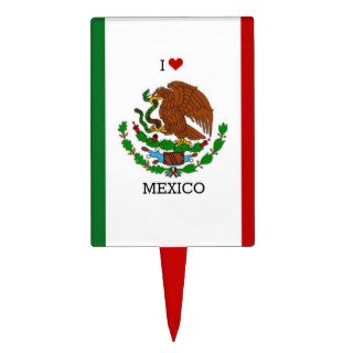 I Love Mexico, Mexican Flag Cake Topper