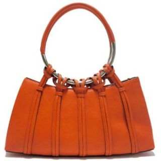 Dasein Designer Designer Inspired Shoulder Handbag w/ Looped In Ring Straps Orange Shoes