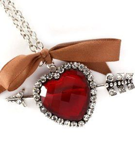Fashion Jewelry ~ Red Heart with Arrow Pendant Accented with Clear Crystals Necklace (Style AGMN13553RDRED MWR) Jewelry