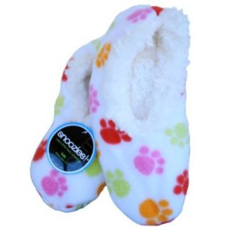 Womens Dog Paw No Skid Slipper Sock Footwear by Snoozies in Multi   Small Shoes
