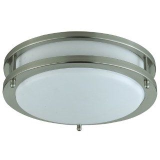 Cal Lighting LA 182S Flush Mount with White Glass Shades, Brushed Steel Finish   Flush Mount Ceiling Light Fixtures
