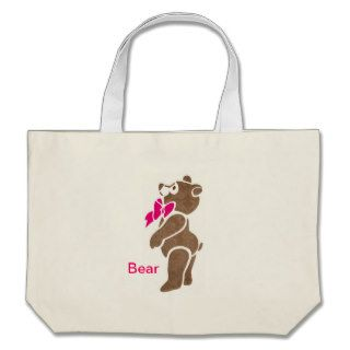 Floral Brown Bear with Pink Bow Tie Bags