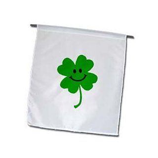 3dRose fl_123145_1 Happy Shamrock Cute Smiley Face Lucky Four Leaf Clover Irish Good Luck Charm Green Ireland Garden Flag, 12 by 18 Inch  Outdoor Flags  Patio, Lawn & Garden