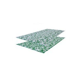 RV Patio Mat 9x12 Flower Pattern (Green/White) Mat Sports & Outdoors